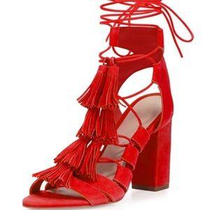 Loeffler Randall Luz Suede Tassel-Tie Sandal, Red